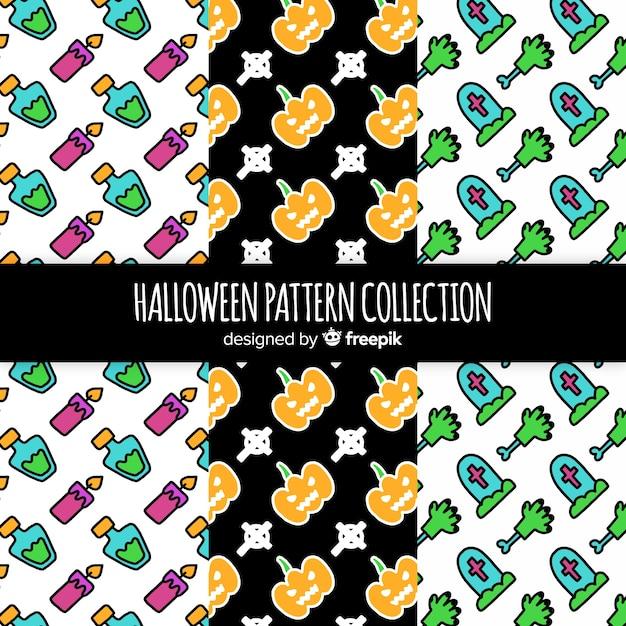 Halloween pattern set Free Vector