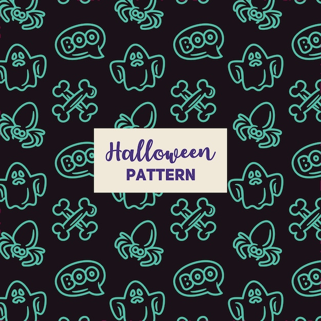 Halloween pattern with spider, a ghost and a bone. Premium Vector