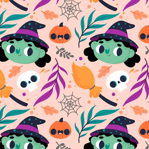 Halloween pattern with witches Free Vector