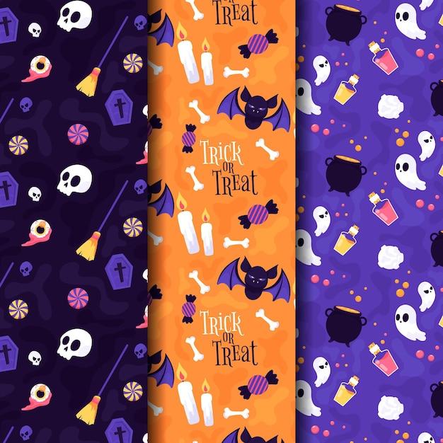 Halloween patterns in flat design Free Vector