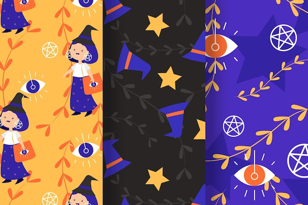 Halloween patterns in flat design Free Vector