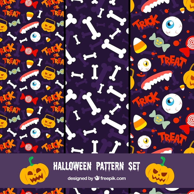 Halloween patterns set Vector | Free Download
