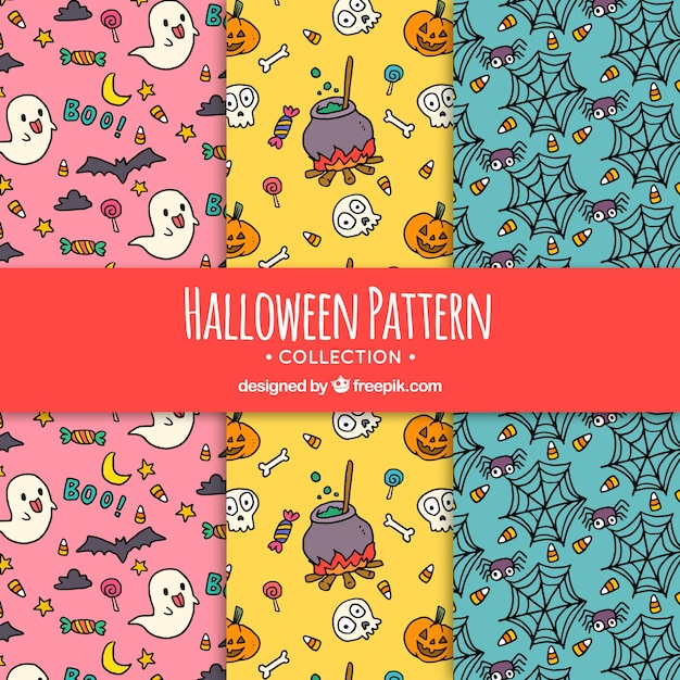 Halloween patterns with drawings Vector | Free Download