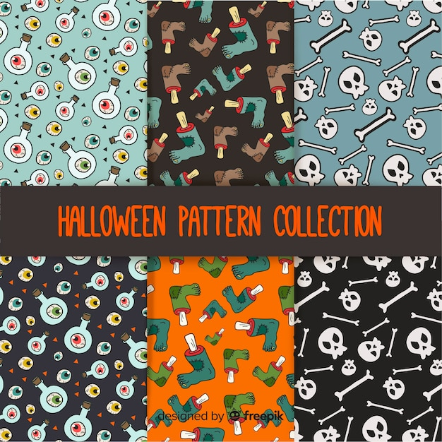 Halloween patterns with drawings Free Vector