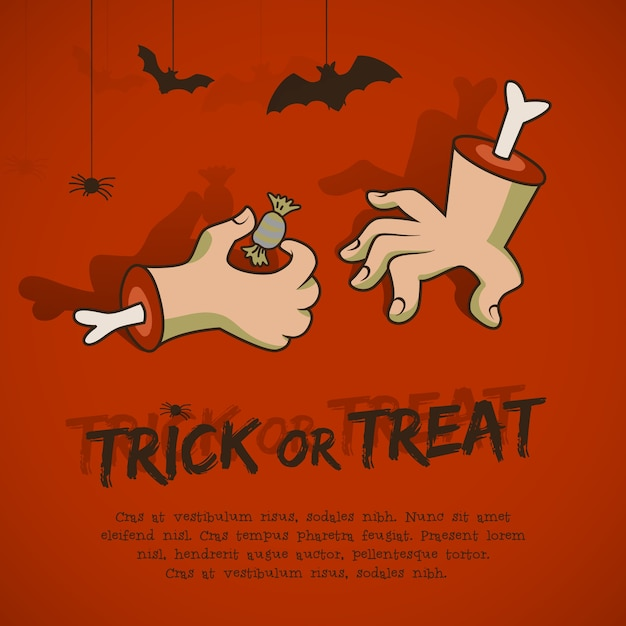 Halloween phrase trick or treat with animals hands and candy on red background cartoon style Free Vector