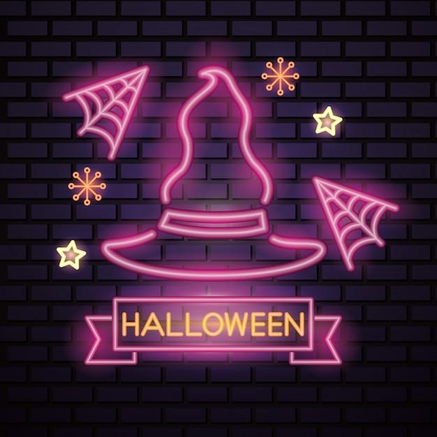 Halloween pink neon sign Free Vector