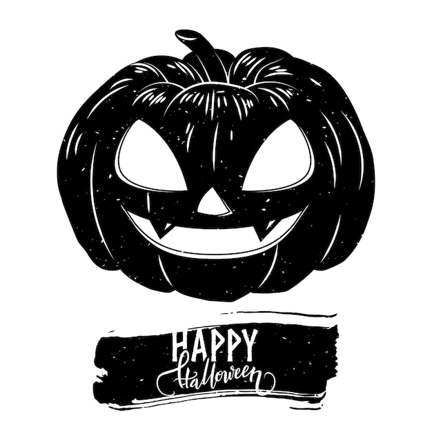 Halloween postcard with creepy pumpkin and calligraphy text Premium Vector