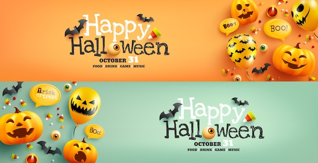 Halloween poster and banner template with cute halloween pumpkin,bat,candy and ghost balloons.website spooky, Premium Vector