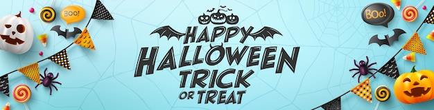Halloween poster and banner template with halloween element Premium Vector