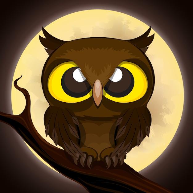 Halloween poster owl Premium Vector