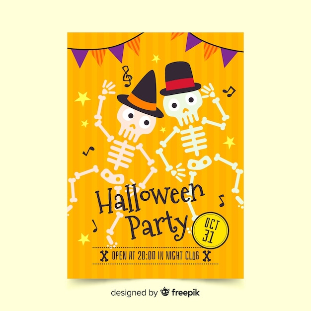 Halloween poster skeletons dancing Free Vector