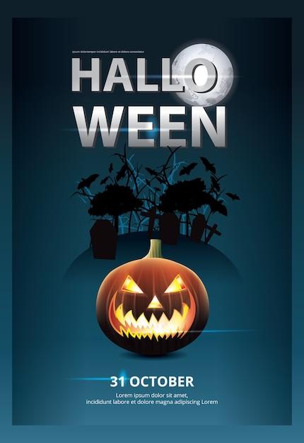 Halloween poster template design illustration Free Vector