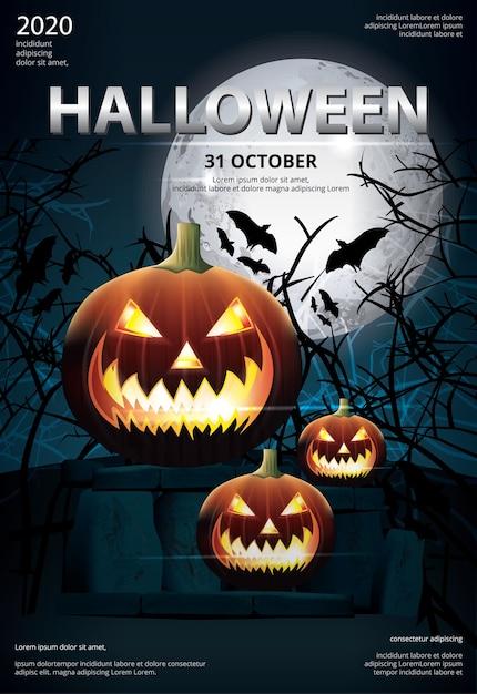 Halloween poster template design vector illustration Free Vector
