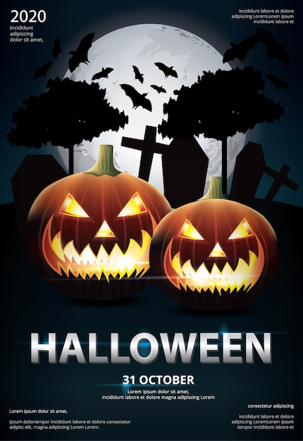 Halloween poster template design vector illustration Free Vector