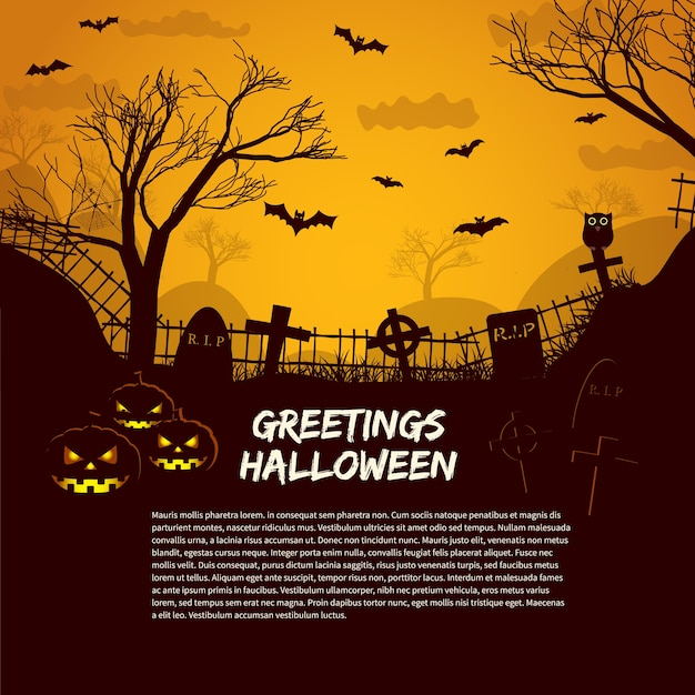 Halloween poster template with cemetery gravestones at glow in night sky and greetings text flat Free Vector