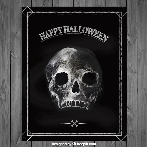 Halloween poster with a hand drawn skull Premium Vector