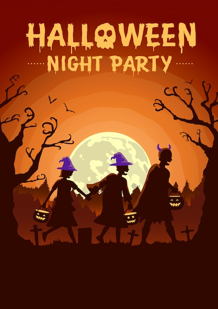 Halloween poster with children group wearing fancy clothes and hat as witch carrying a pot to solicit gifts at night Premium Vector