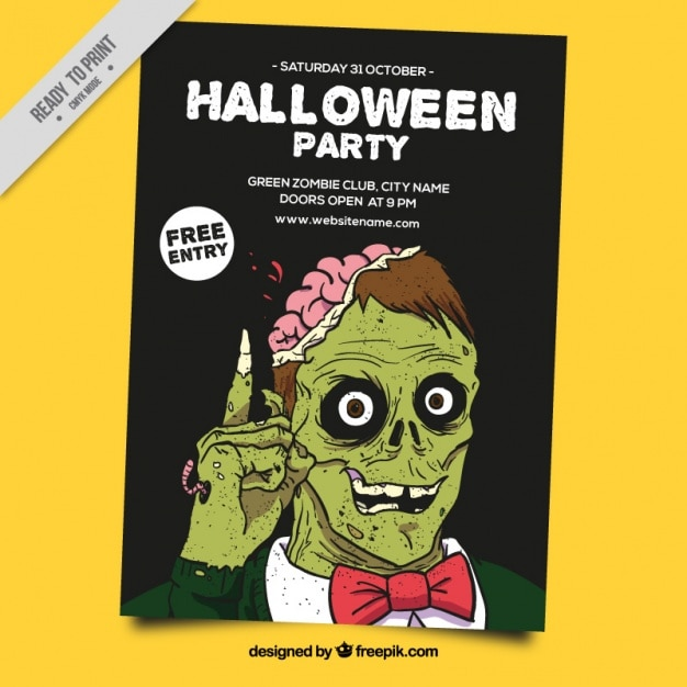 Halloween poster with a green zombie Free Vector
