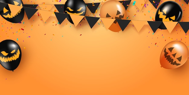 オレンジ色の背景にハロウィーンの幽霊の風船とハロウィーンのポスター。怖い気球。不気味なウェブサイトまたはバナーテンプレート。 Premiumベクター