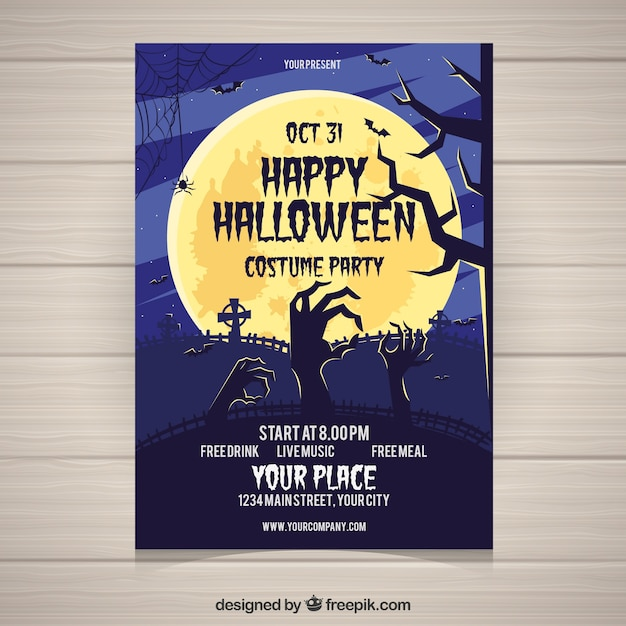 Halloween poster with hands coming out of the ground
