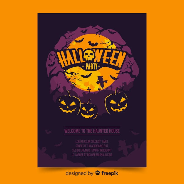 Halloween poster with pumpkins on a full moon night Free Vector