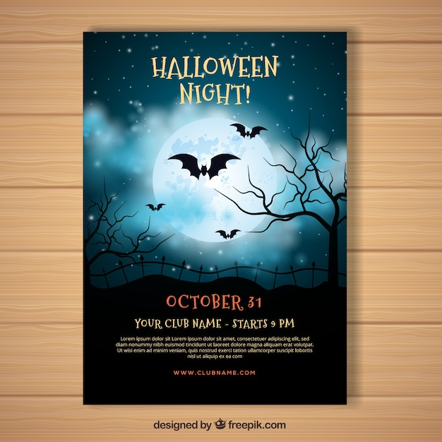 Halloween poster with realistic night sky Free Vector
