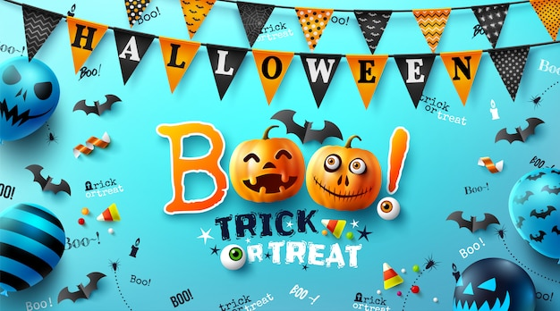Halloween poster with text Premium Vector