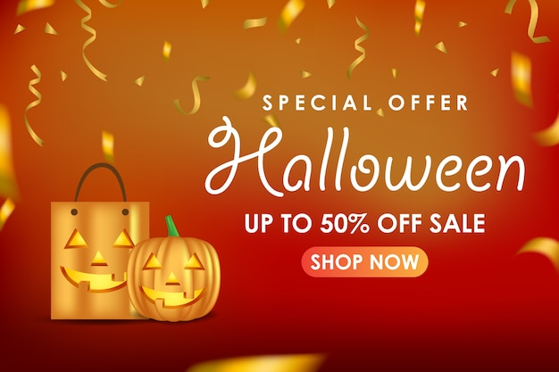Halloween promotion banner Premium Vector