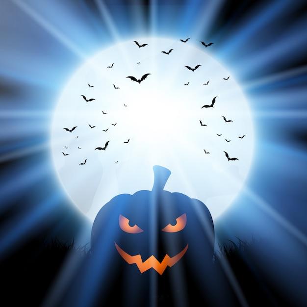 Halloween pumpkin against a moon with bats Free Vector