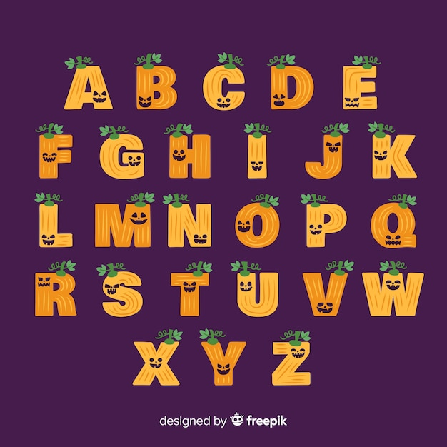Halloween pumpkin alphabet Free Vector