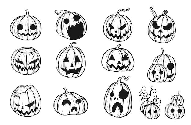 Halloween Pumpkin Drawing.Halloween Pumpkin By Hand Drawing Set Of Pumpkin In