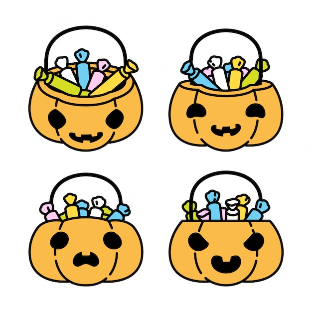 Halloween pumpkin candy basket cartoon character icon illustration Premium Vector
