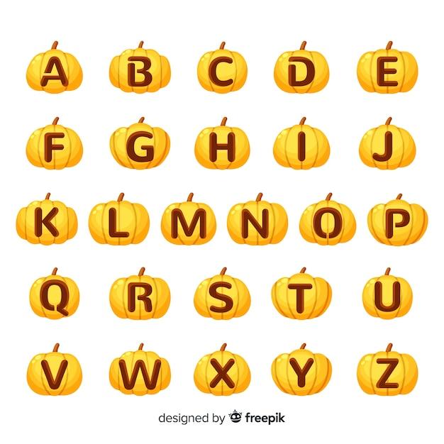 Хэллоуин тыква вырезанная с буквами алфавита Бесплатные векторы
