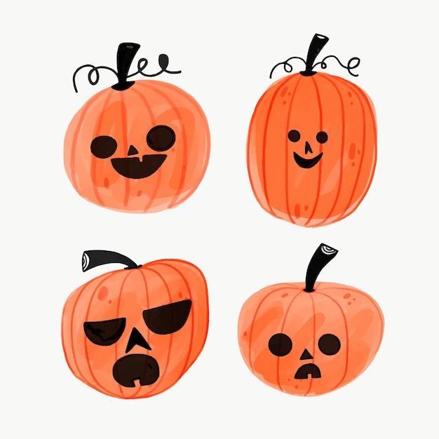 Хэллоуин тыква коллекция рисованной Premium векторы