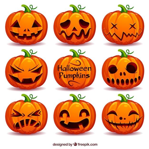 Коллекция тыквы хэллоуина Бесплатные векторы