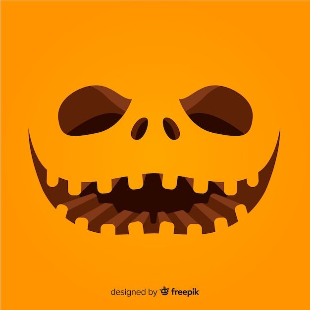 Halloween pumpkin face background Free Vector