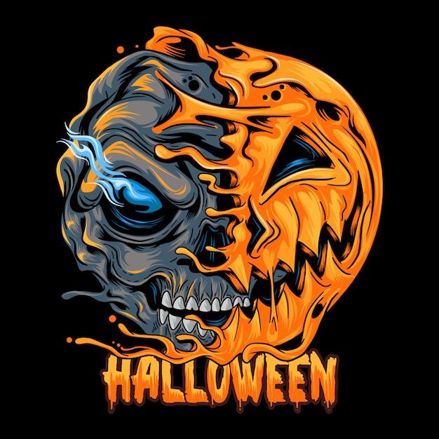 Halloween pumpkin half skull, looks spooky and cool. editable layers artwork Premium Vector