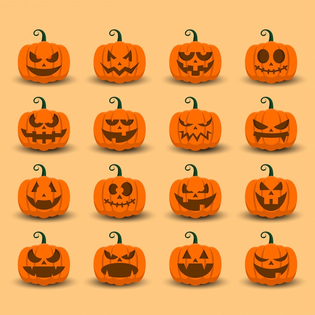 Halloween pumpkin icon set with emoji  template Premium Vector
