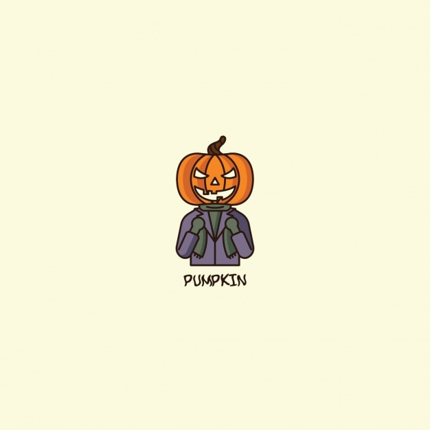 Halloween pumpkin logo on beige background Free Vector