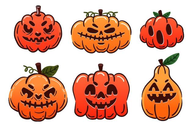 Хэллоуин тыква пакет рисованной дизайн Бесплатные векторы