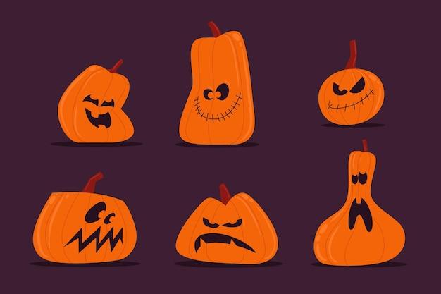 Хэллоуин тыква пакет рисованной стиль Premium векторы