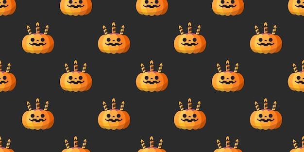 Halloween pumpkin seamless pattern. Premium Vector
