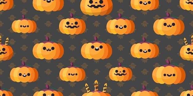 Halloween pumpkin seamless pattern, . Premium Vector