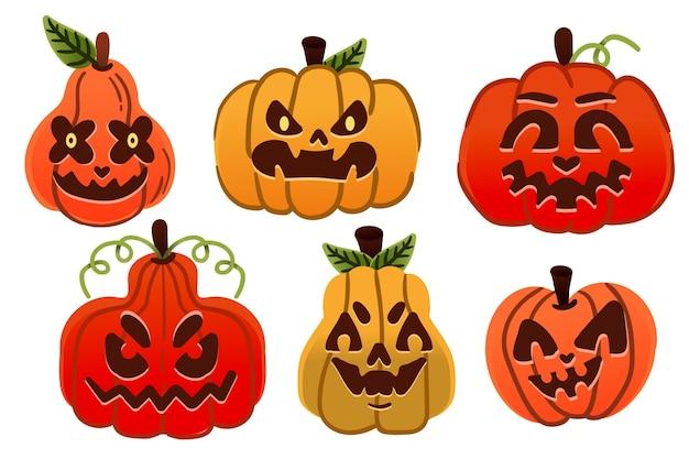 Хэллоуин тыква набор рисованной дизайн Бесплатные векторы
