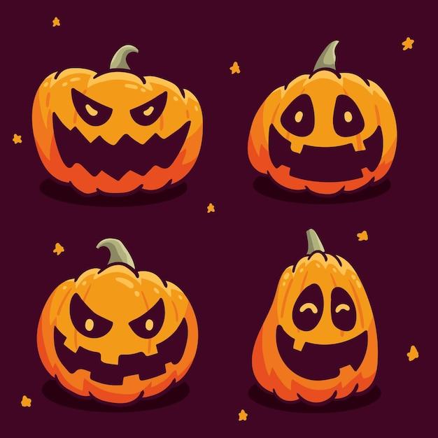 Хэллоуин тыква набор рисованной стиль Premium векторы