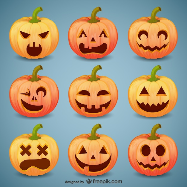 Halloween pumpkin smileys pack Free Vector