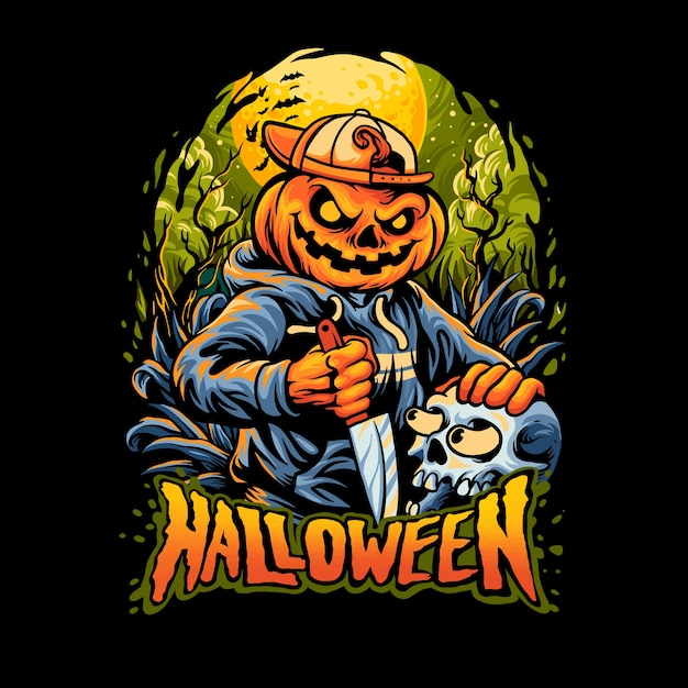 Halloween pumpkinterror Premiumベクター
