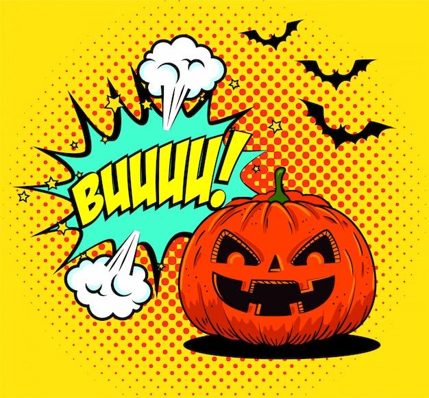 Halloween pumpkin with bats flying in pop-art style Free Vector