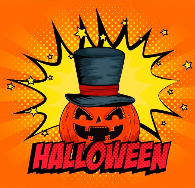Halloween pumpkin with hat in pop-art style Free Vector