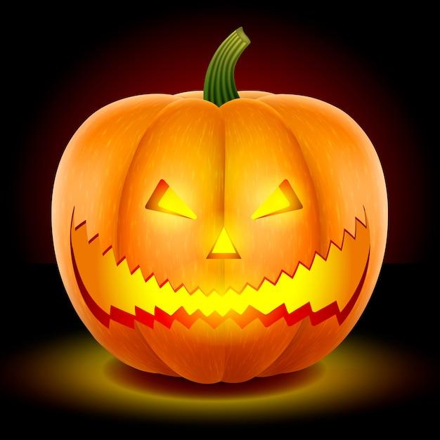 Halloween,  pumpkin with a scary face. Premium Vector